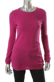 Aqua New Pink Cashmere Ribbed Trim Ruched Long Sleeve Tunic Sweater
