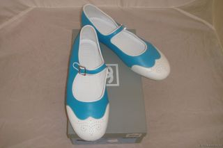 Auth Chanel Blue White Mary Jane Flats Slippers 40