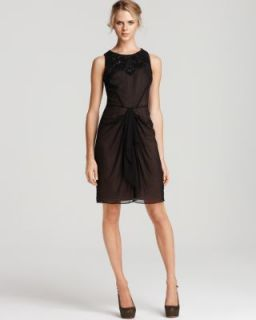 Anne Klein New Black Silk Embellished Sheer Front Cocktail Evening