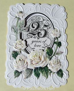 Fine Arts 25th Wedding Anniversary Card Beautiful Roses CG197