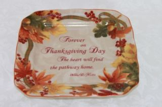 AUTUMN CELEBRATION SCRIPT THANKSGIVING SQUARE APPETIZER PLATES S/4