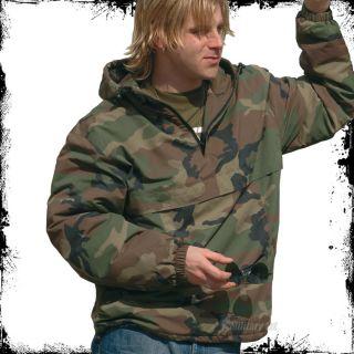 Military Combat Mens Anorak Jacket Fleece Woodland Camo