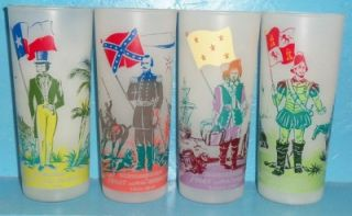 set of 8 texas flag frosted iced tea glasses