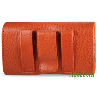 Orange Leather Sideways Horizontal Belt Clip Case Cover Pouch Fr Apple