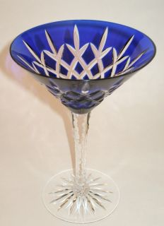 Cut to Clear Glass Martini Cocktail Arabella Cobalt Blue