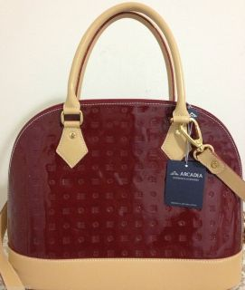 Arcadia Patent Italian Leather Bag Purse Tote Satchel Red Natural