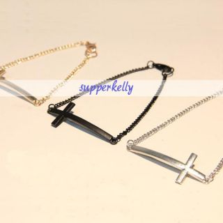 New 3X Golden Silver Black Simple Arc Design Charm Sideways Cross Lady