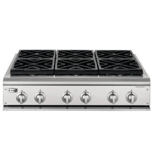 36 professional gas cooktop with 6 burners natural gas zgu36n6hss