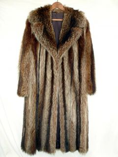 Raccoon Coat Ladies Full Length Womens Size M Medium