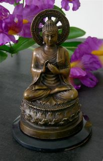Bronze Buddha Statue Sculpture Figurine Wheel Asian Art