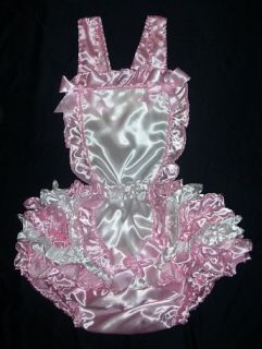 Adult Baby Romper Sissy Satin French Maid Pink White Ruffles Vinyl