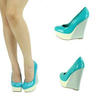 Aqua Blue White Gray Patent Leather High Heel Platform Wedge Womens