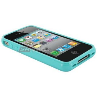 Candy Jelly Skin Silicone Fitted Cover Case Aqua For Apple Iphone 4 4S