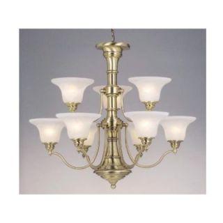 New 9 Light Chandelier Lighting Fixture Antique Brass White Alabaster