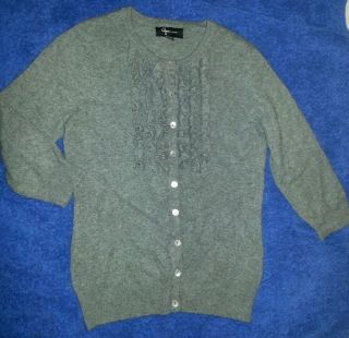 BEAUTIFUL AQUA CASHMERE GRAY RUFFLED BUTTON DOWN CARDIGAN SWEATER XS