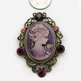 Beautiful Violet Purple Cameo Pin Brooch Pendant P603