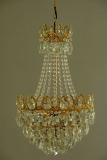 Large Antique French Style Vintage Crystal Lamp Chandelier Brass