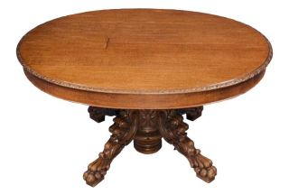 Carved Oak Antique Oval Dining Table Lions Head Base