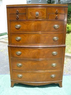 ANTIQUE MAHOGANY CHIPPENDALE HIGHBOY CHEST DRESSER INLAY by WHITE