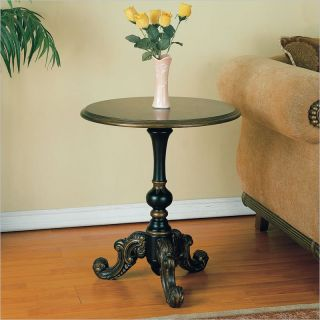 Powell Masterpc Antique Black Round Pedestal End Table