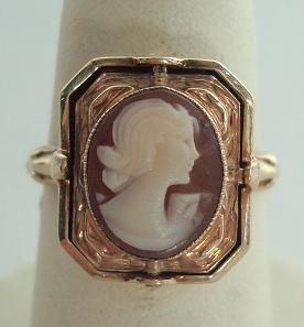 Carved Shell Cameo Black Onyx 10K Gold Mourning Flip Ring Antique NR