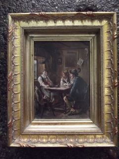 Rare Miniature Oil Painting Wood panel Emil Rau 1858 1937 Interior