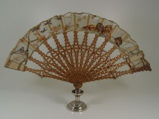 ANTIQUE CHINESE SILK DACHSHUNDS & SWALLOWS HANDPAINTED LACE BAMBOO FAN