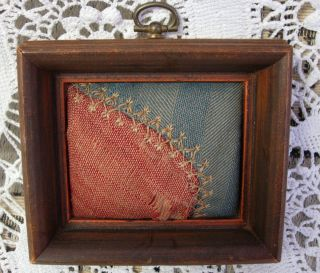 Antique Vintage Quilt Piece Small Wooden Frame Folk Art Primitive