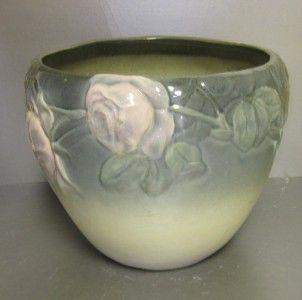 Antique Large Etna Weller Art Pottery Jardiniere Beautiful Roses