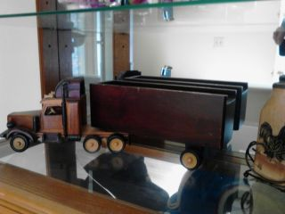 Toy Wooden Semi Truck Old Collectors Antique Item