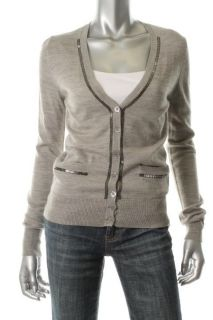 Armani Jeans New Gray Wool Ribbed Embellished Long Sleeve Cardigan