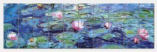 Monet Water Lilies Ceramic Tile Mural 42x12 Backsplash