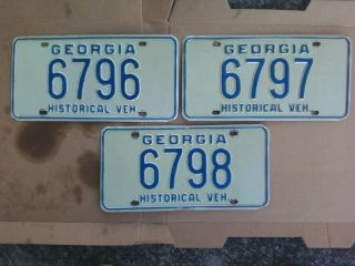 Georgia Permanent Antique Hobby old car license plate tag 1900 1965 /3