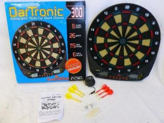 Arachnid DarTronic 300 Soft Tip Electronic Dart Board Game with 6