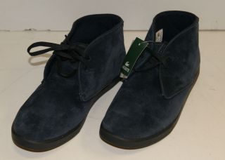 New Lacoste Mens Arona Grey/ Blue Suede Mid Lace Up Shoes 8.5 Free