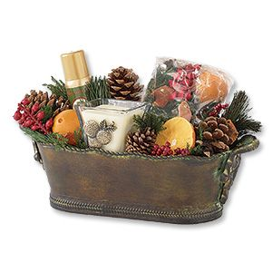 Aromatique Orange Evergreen Large Gift Container New