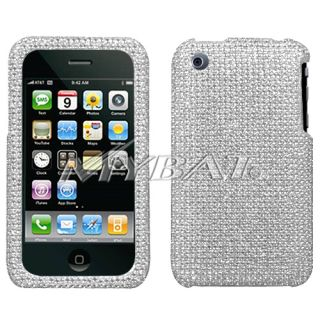 Apple iPhone 3G 3GS Cell Phone Silver Full Bling Stone Hard Case Cover