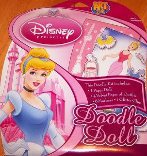 Disney Princess Doodle Velvet Art Paper Doll Cinderella