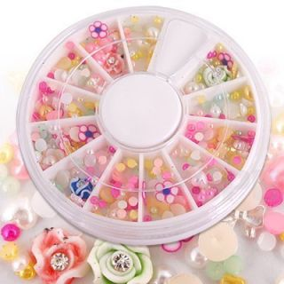 1000 Mixed Color Shape Nail Art Tips Rhinestones Wheel