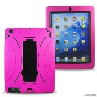 For Apple iPad 2 iPad2 New Pink Hybrid Heavy Duty Kickstand Hard Soft
