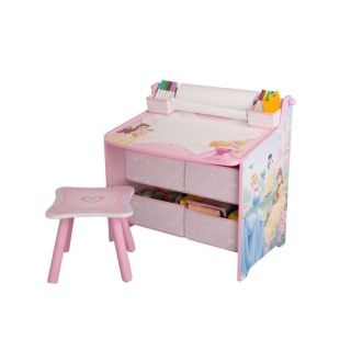 Disney Princess Art Table Desk Stool Bins Storage Paper Roll Dry Erase
