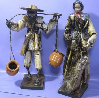 Vintage Mexican Folk Art Paper Mache Doll Figurines Village People