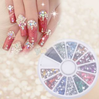 3000x2mm Nail Art Rhinestones Flower Shapes Glitters Tips Manicure