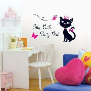 SWST 08 Romantic Cat Wall Art Decal Deco Mural Sticker