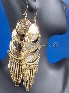 Lot 32 Pairs of Gold Plated Earrings Designs Inca Peru