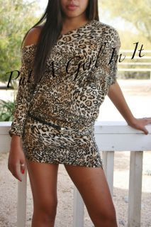 Sexy Plus Size Off Shoulder Kimono Leopard Animal Print Dress Club
