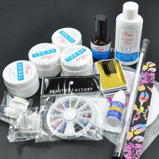 Pro UV Gel Nail Art Kit Topcoat Rhinestones 53