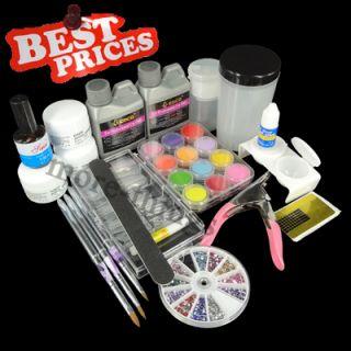 Full Acrylic Nail Art Professional Set Liquid Powder Tips Acrylic Kits