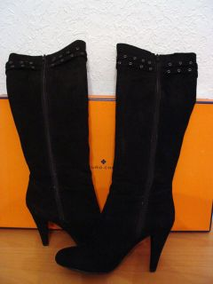 Arturo Chiang Gorgeous Knee High Black Suede High Heels Boots New in