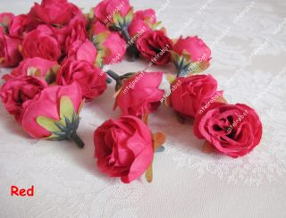 Artificial Fake Red Rose Silk Flower Heads Wedding Home Hair Clip Deco